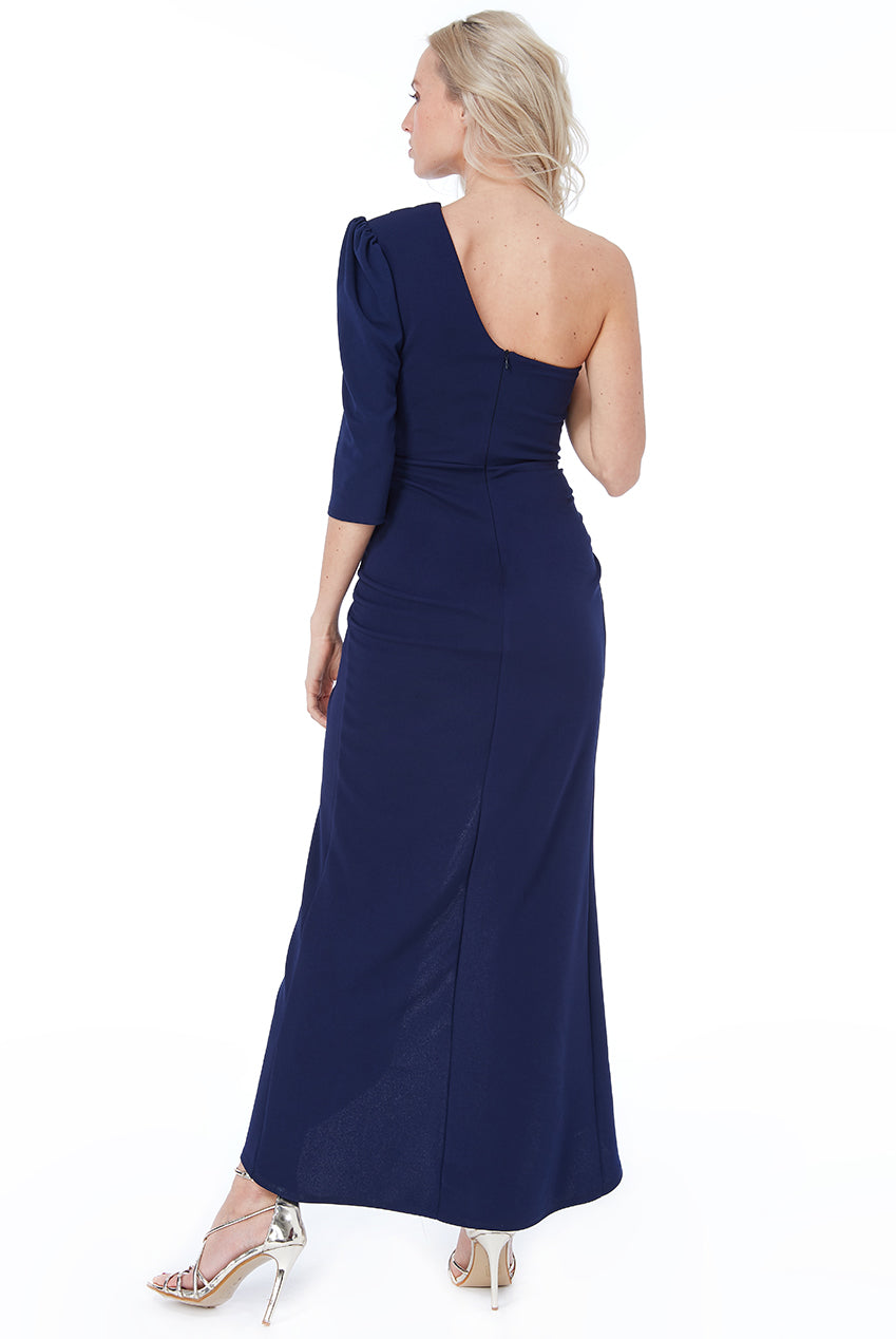 Navy One Shoulder Long Sleeve Maxi Dress