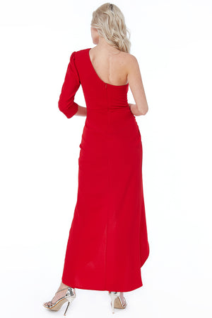 Red One Shoulder Long Sleeve Maxi Dress