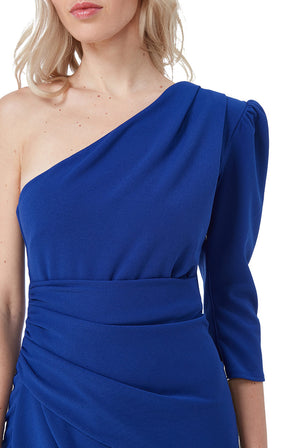 Royal Blue One Shoulder Long Sleeve Maxi Dress