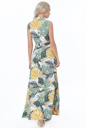 LEAF PRINT MAXI SHIRT DRESS