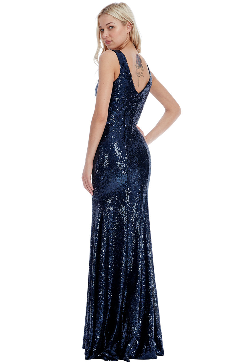 Navy Sequin V Neck Fishtail Maxi Dress
