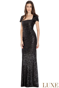 Black Sequin Portrait Neckline Maxi Dress
