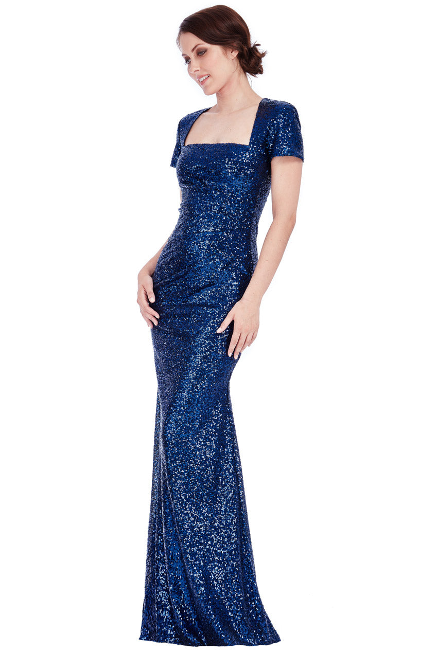 Navy Sequin Portrait Neckline Maxi Dress