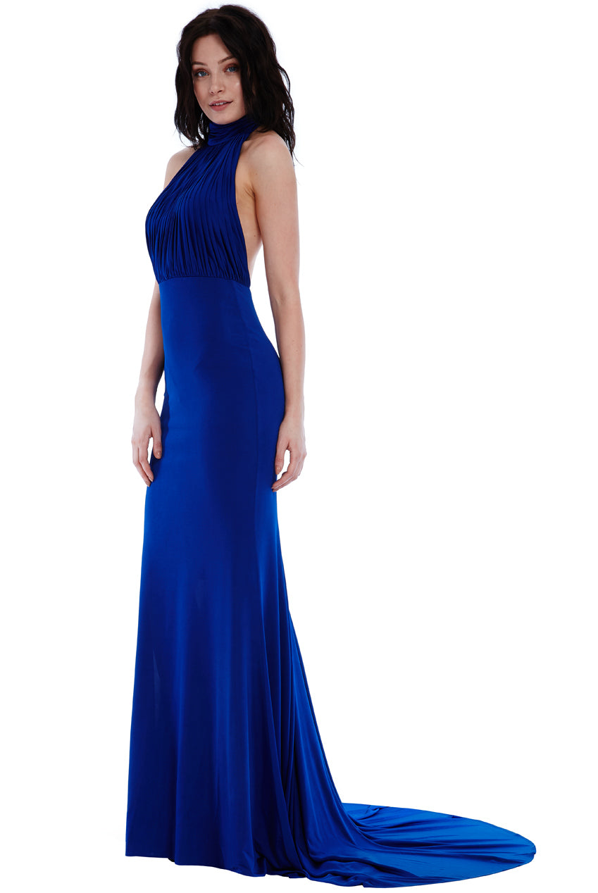 Royal Blue Halter Neck Fishtail Maxi Dress