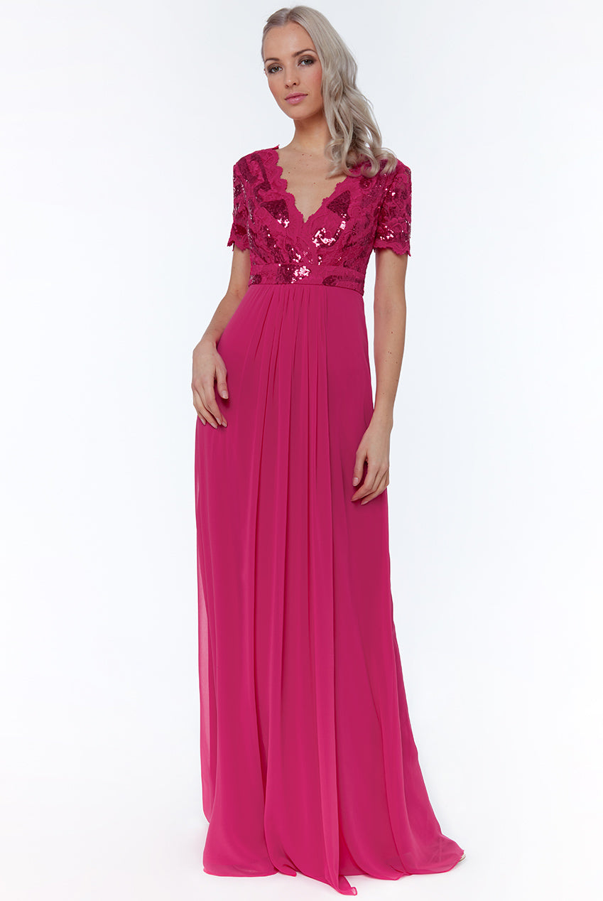 Hot Pink Sequin Chiffon Maxi Dress
