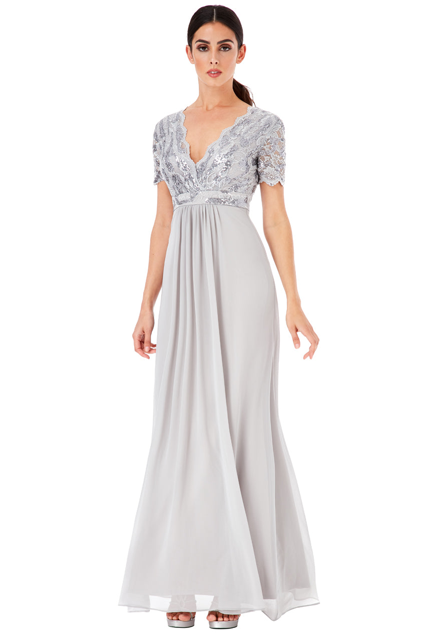 Silver Sequin Chiffon Maxi Dress