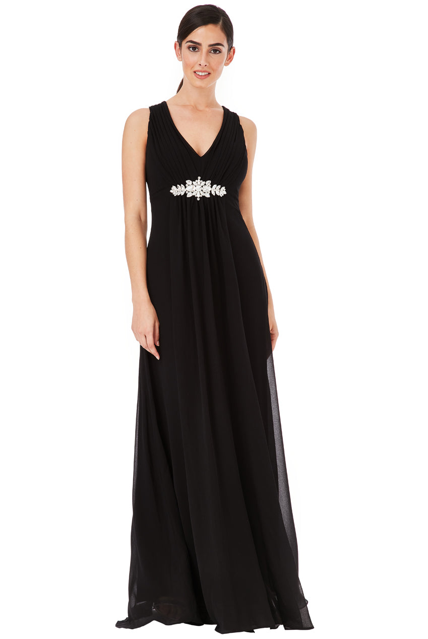 Black V Neck Embellished Maxi Dress