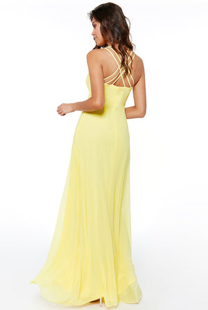 Lemon V Neck Embellished Maxi Dress