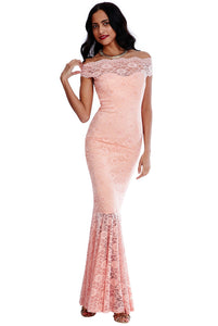 Bardot Lace Mermaid Hem Maxi Dress - Blush