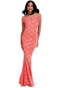 Bardot Lace Mermaid Hem Maxi Dress - Coral