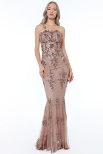Strapless Sequin Embroidered Maxi Dress - Peach