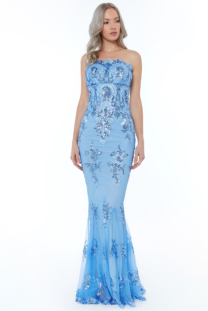Strapless Sequin Embroidered Maxi Dress - Powder Blue