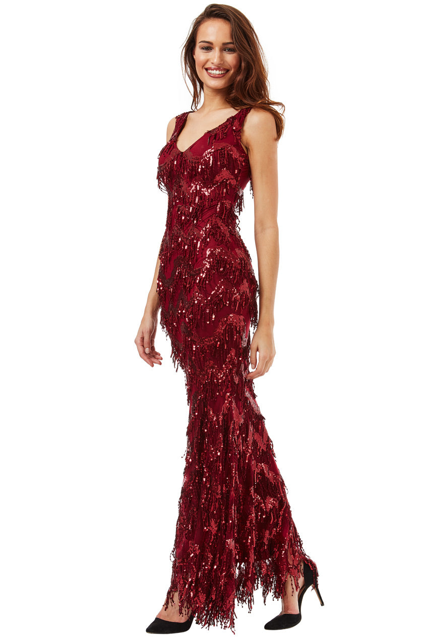 Wine Sequin Flapper Maxi Dress