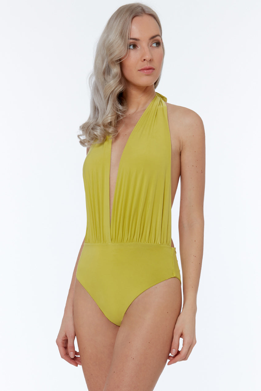 DEEP PLUNGE HALTER NECK SWIMSUIT WITH HIGH LEG - LIME