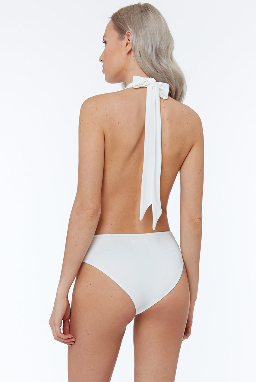 DEEP PLUNGE HALTER NECK SWIMSUIT WITH HIGH LEG - WHITE