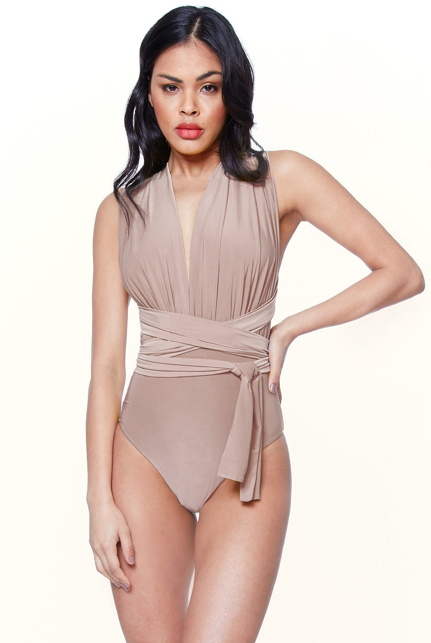 MULTI TIE DEEP V SWIMSUIT - LATTE