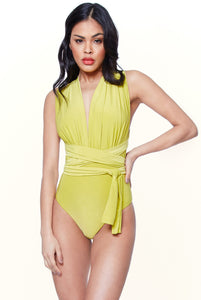 MULTI TIE DEEP V SWIMSUIT - LIME