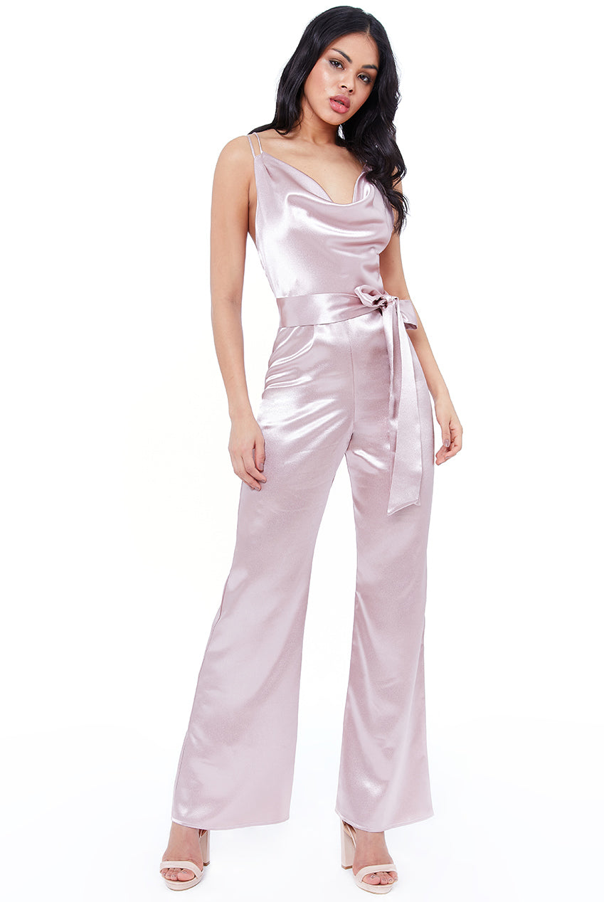 Cowl Neck Jumpsuit by Vicky Pattison - Blush