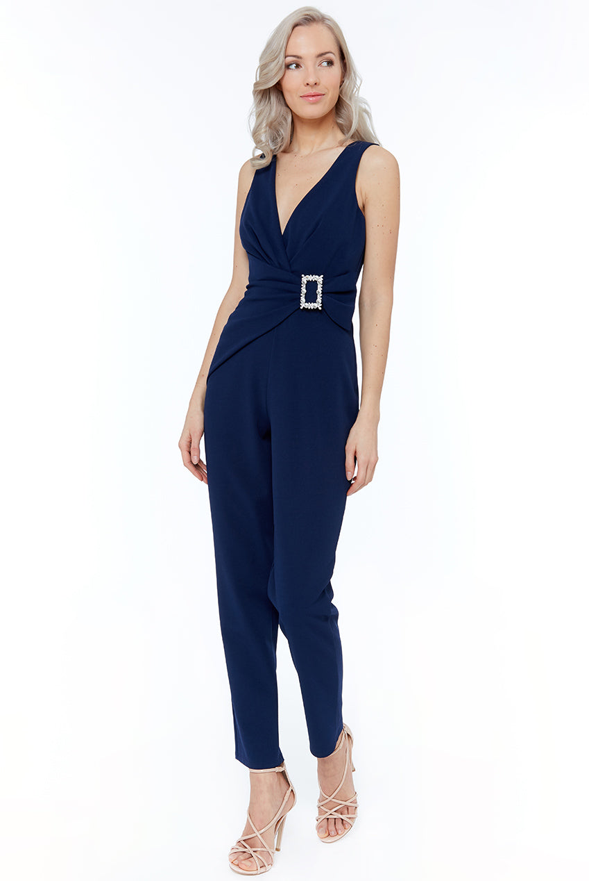 Buckle Plunge Jumpsuit by Vicky Pattison - Navy