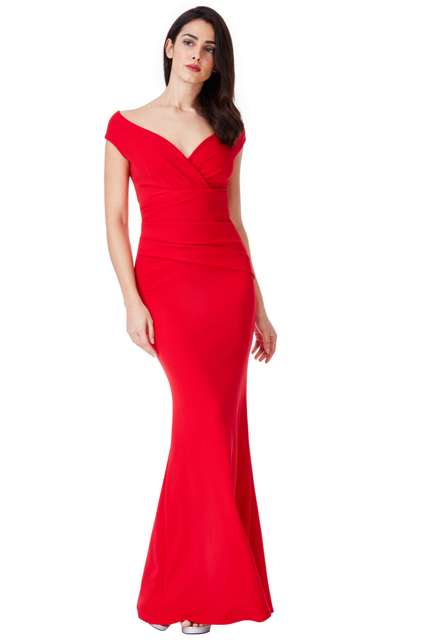 Red V Neck Wrap Maxi Dress
