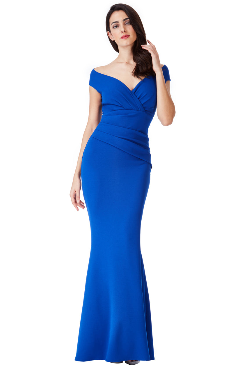 Royal Blue V Neck Wrap Maxi Dress