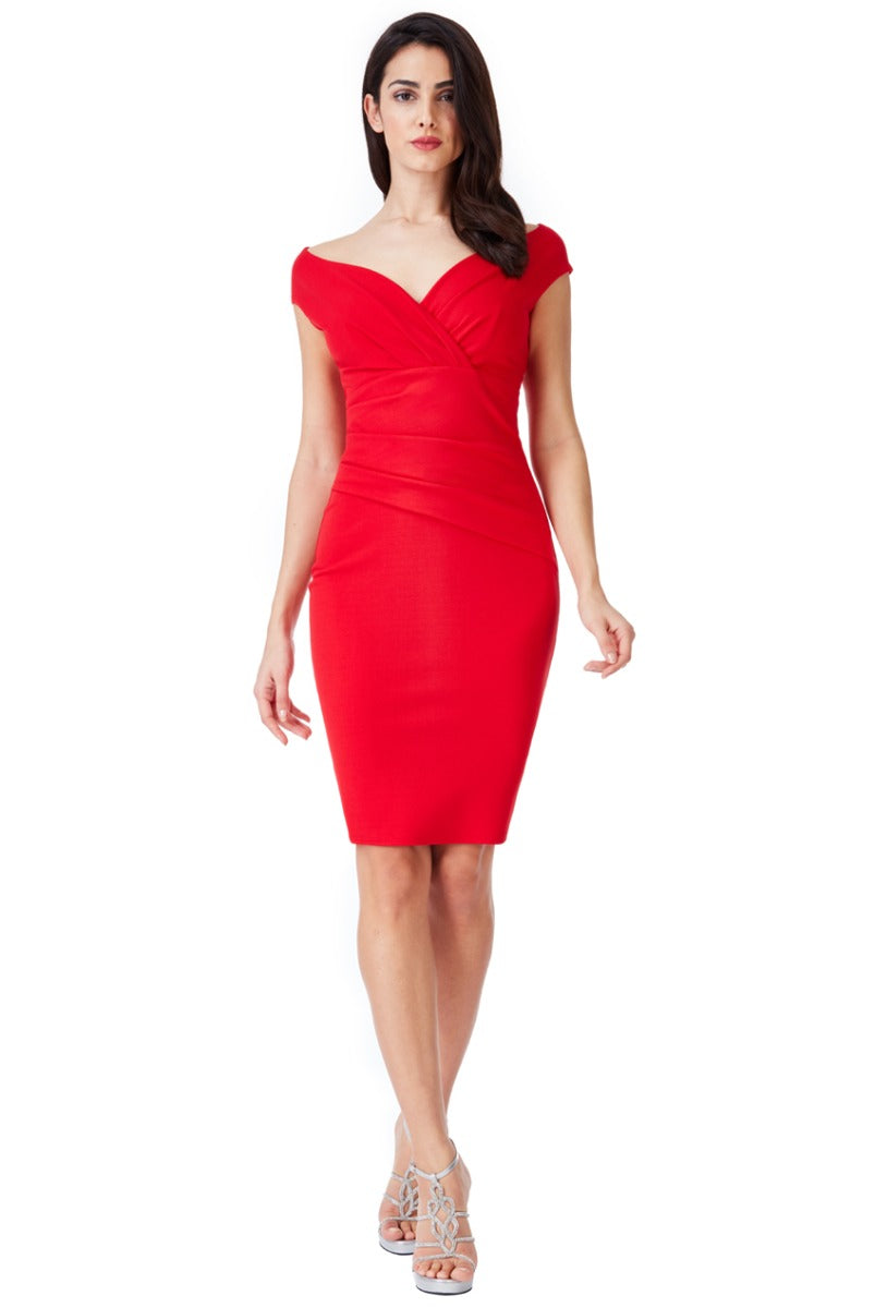 Bardot Pleated Midi Dress - Red