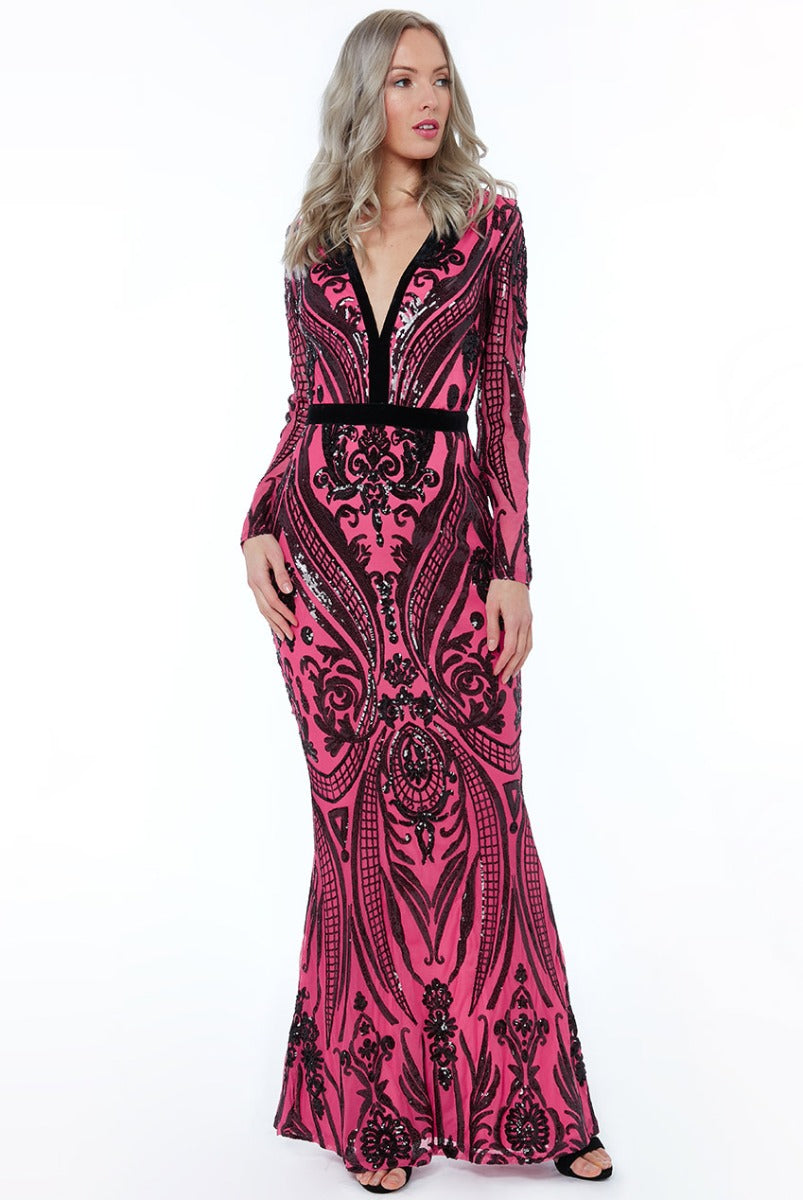 Cerise Sequin Embellished Fishtail Maxi Dress