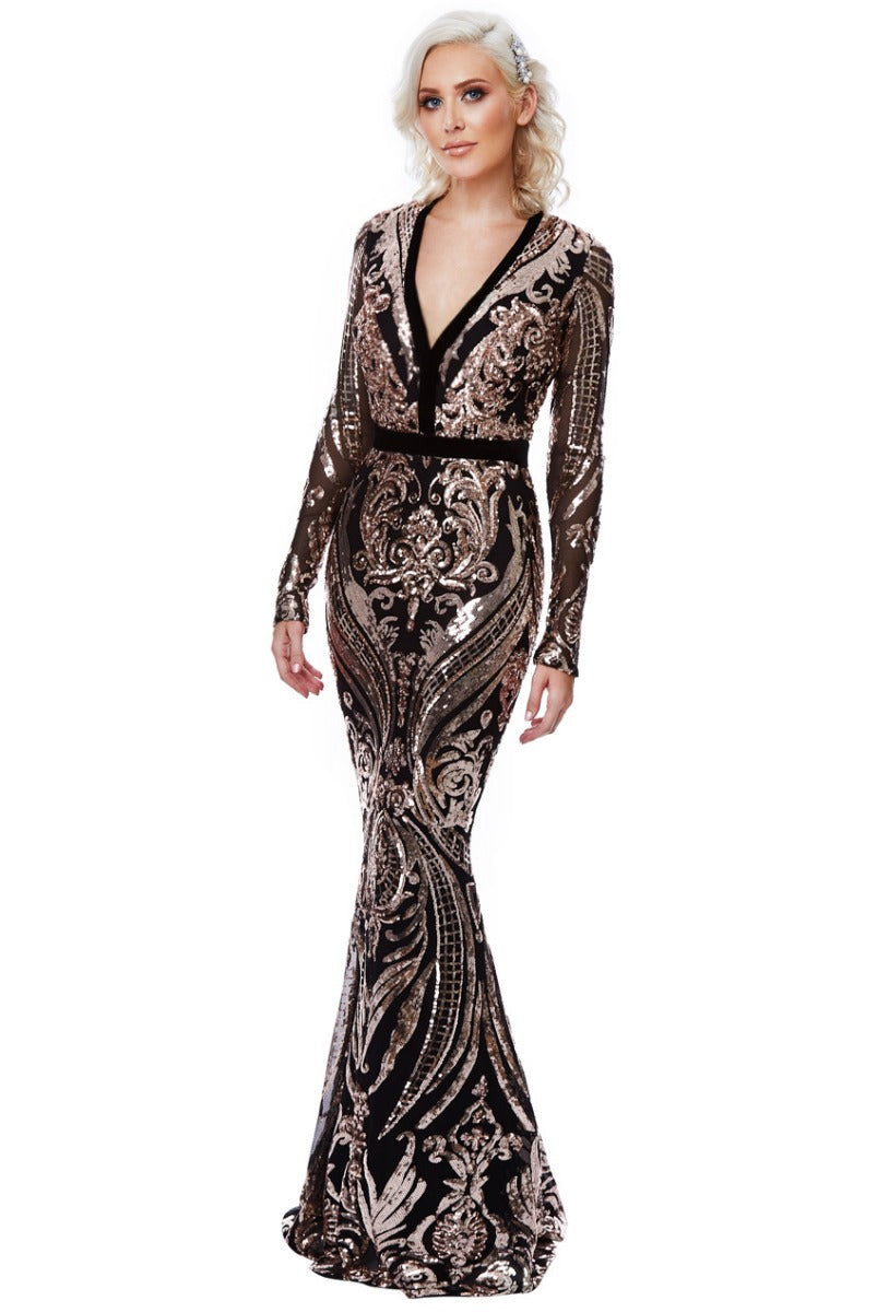 Champagne Sequin Embellished Fishtail Maxi Dress by Stephanie Pratt