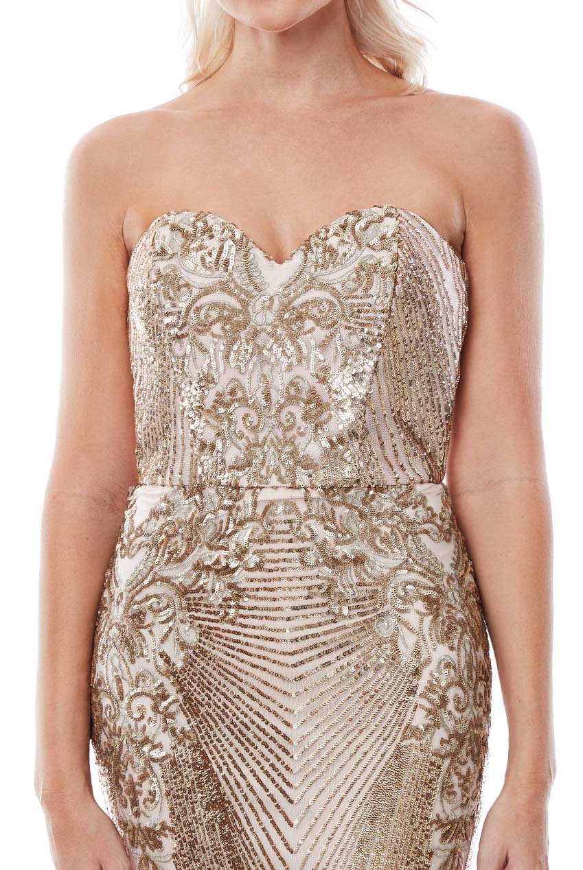 Stephanie Pratt - Gold Sequin Embellished Maxi Dress