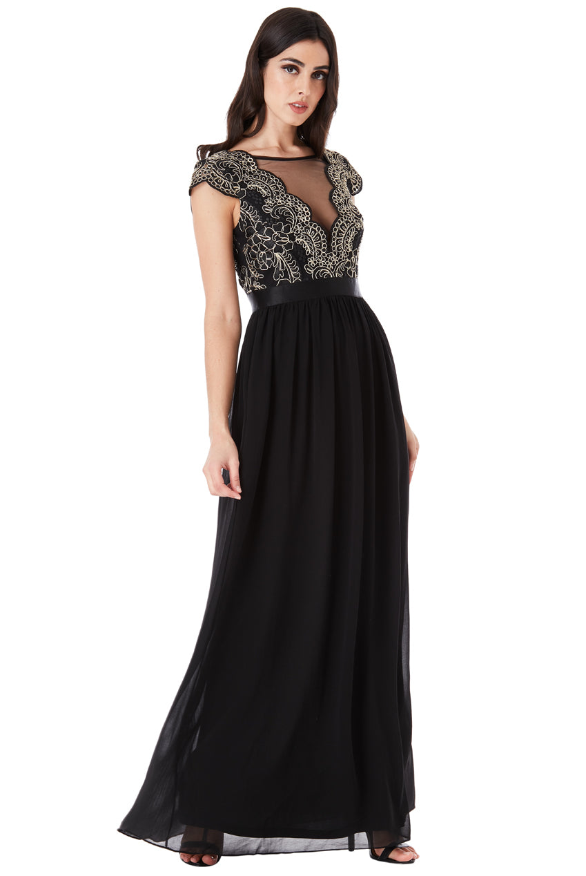 Black Embroidered Bodice Maxi Dress with Cap Sleeves