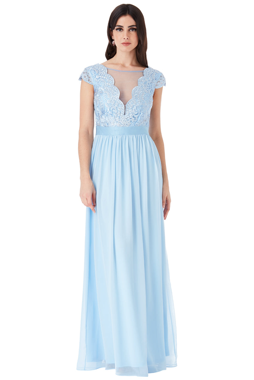 Powder Blue Embroidered Bodice Maxi Dress with Cap Sleeves