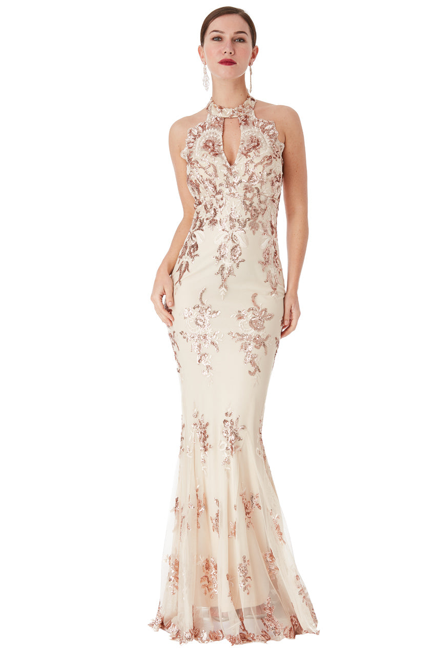 Champagne Sequin Embroidered Halterneck Maxi Dress