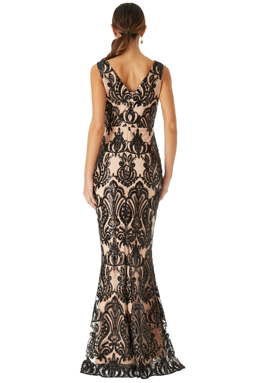 Black And Stone Sequin Maxi Dress