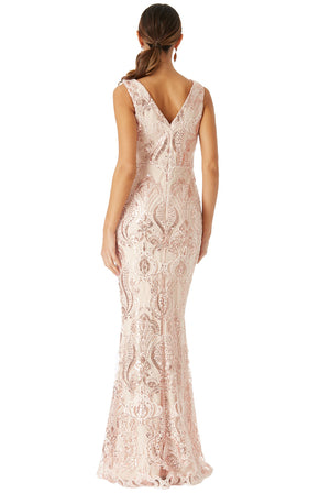 Nude Sequin Embellished Maxi Dress