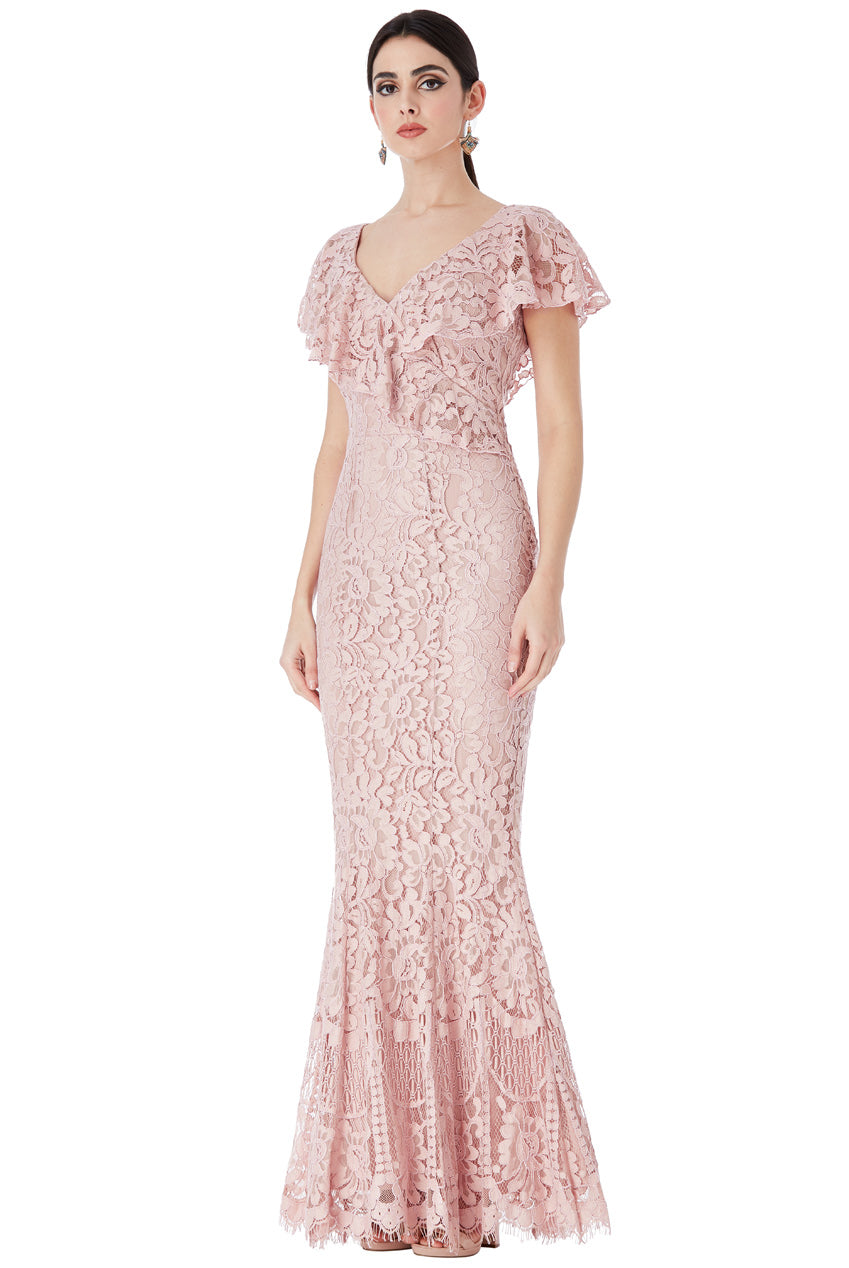 Lace Maxi Dress with Frilled V Neckline - Nude