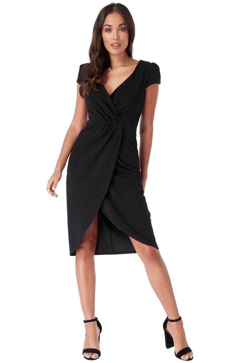 Front Pleat Tulip Midi Dress - Black