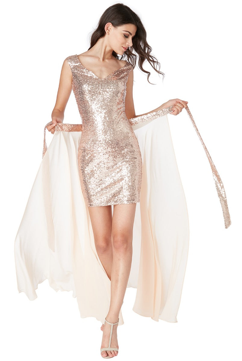 2 in 1 Sequin and Chiffon Dress - Champagne