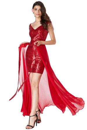 2 in 1 Sequin and Chiffon Dress - Red