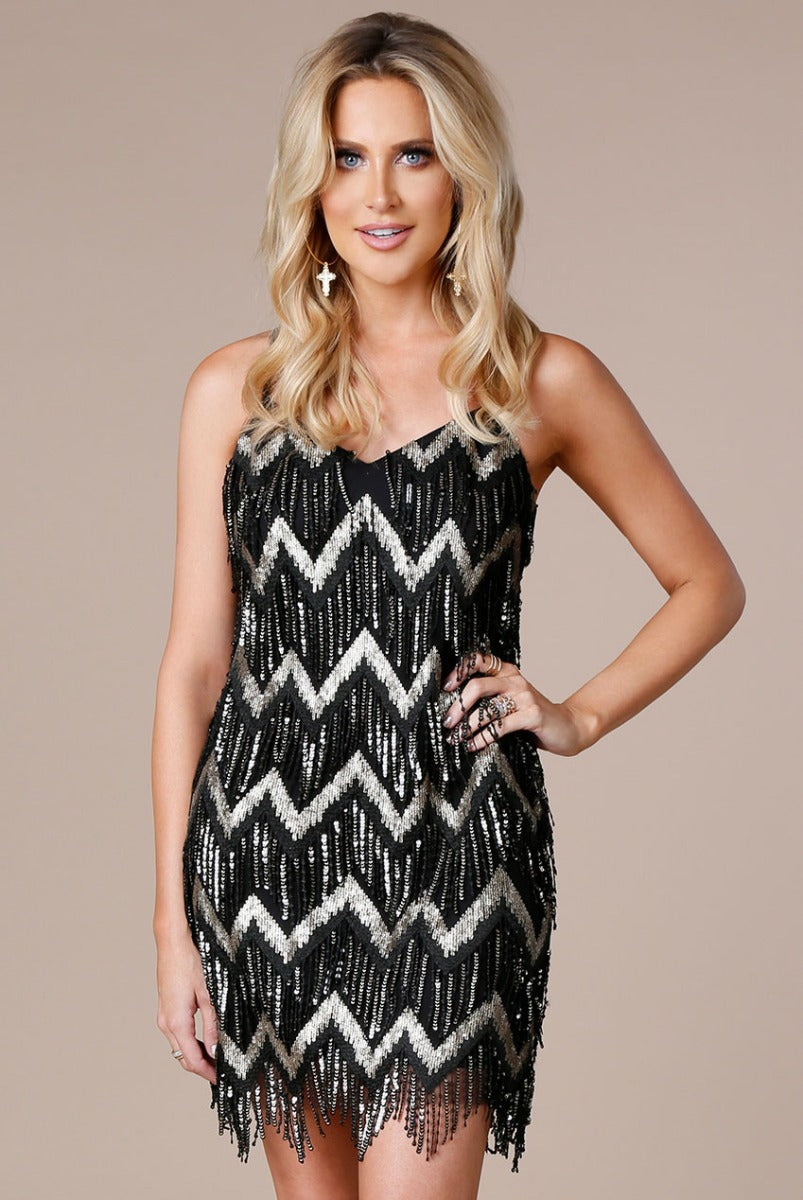 Black Sequin Fringe Mini Dress by Stephanie Pratt