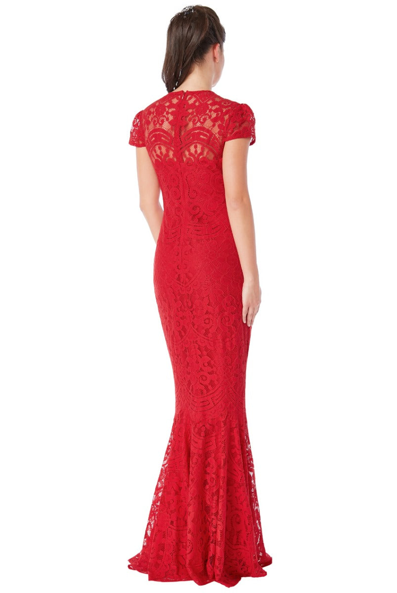 Red Cap Sleeve Lace Maxi Dress