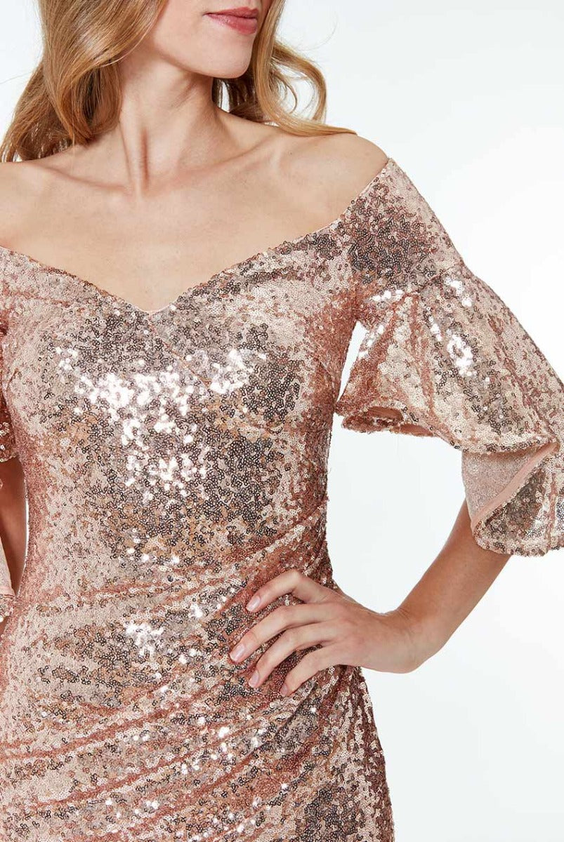 Off The Shoulder Sequin Maxi Dress - Champagne