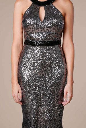 Ombre Halter Neck Sequin Maxi Dress by Stephanie Pratt - Silver