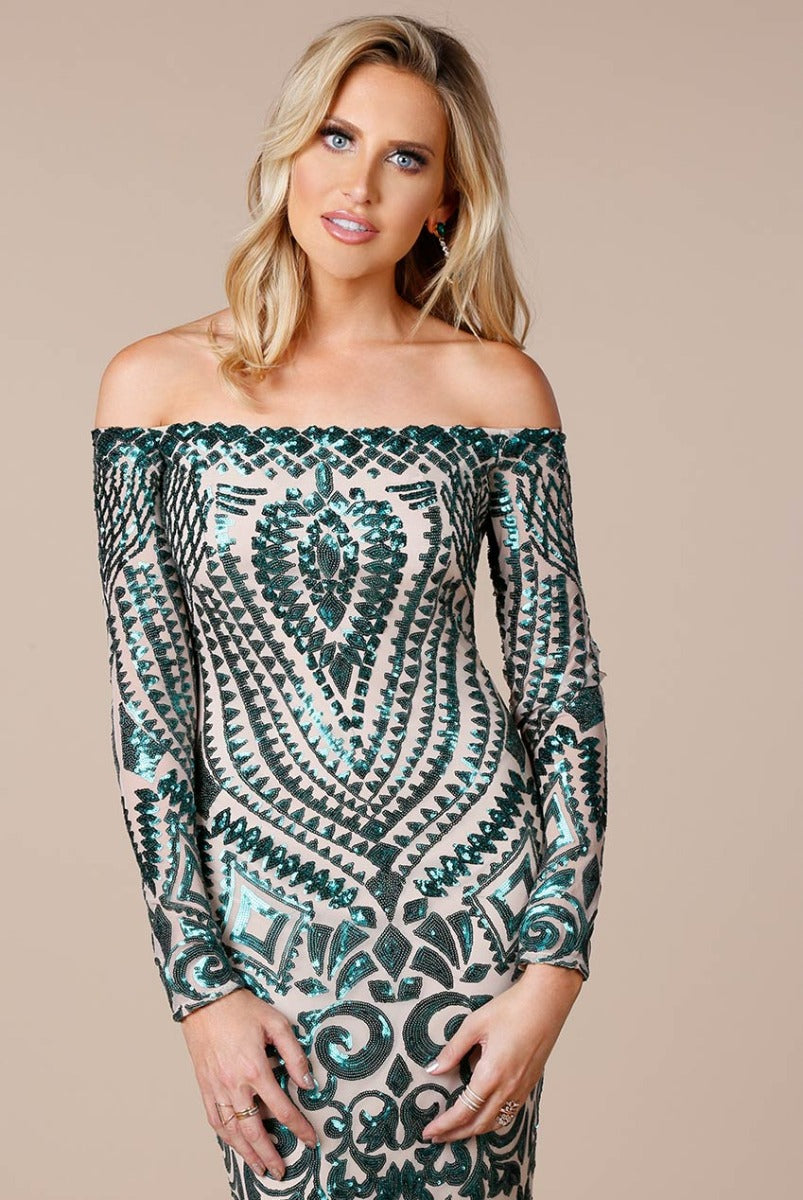 Off The Shoulder Long Sleeve Sequin Maxi by Stephanie Pratt - Emerald