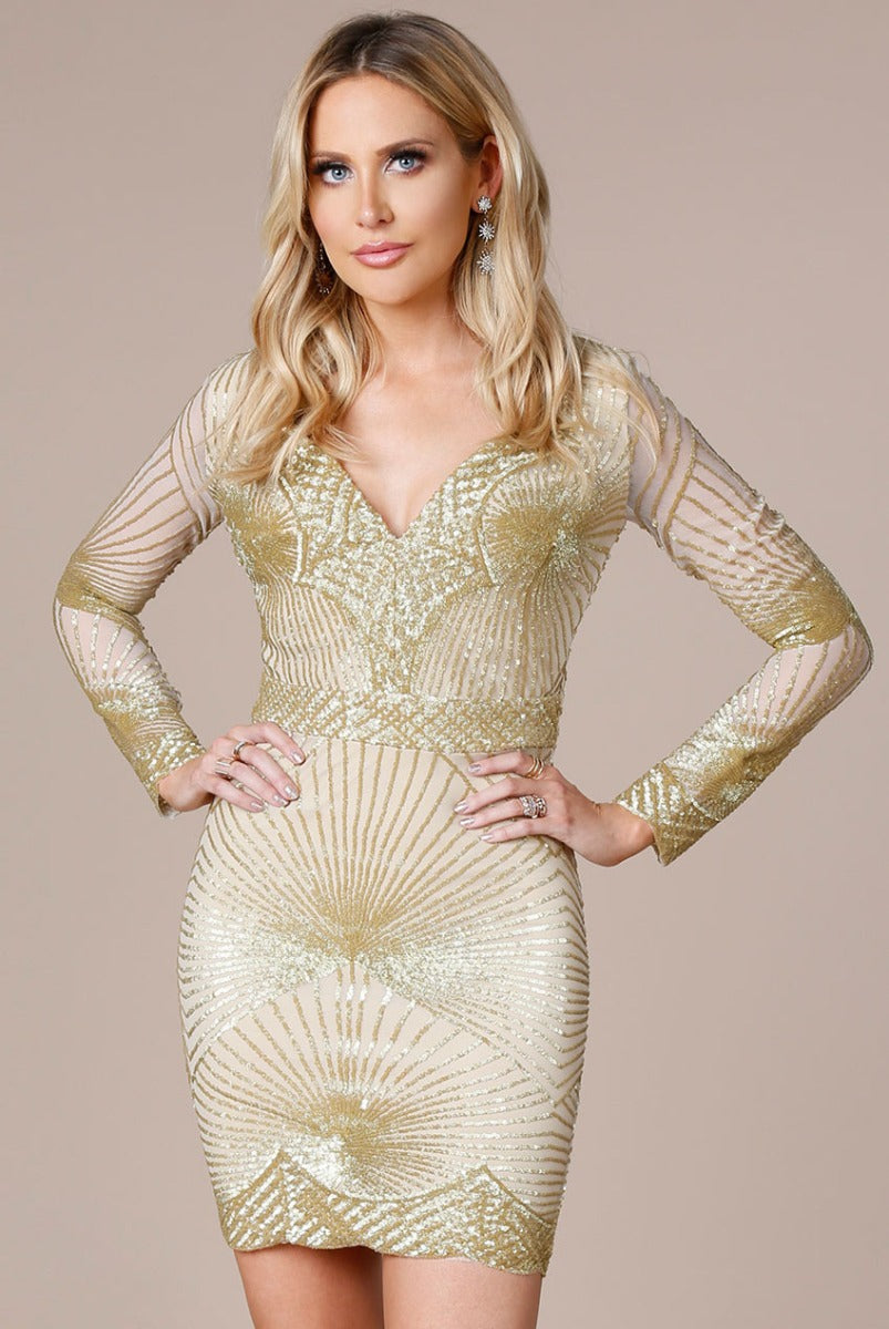 Stephanie Prat - Starburst Sequin Mini Dress - Gold