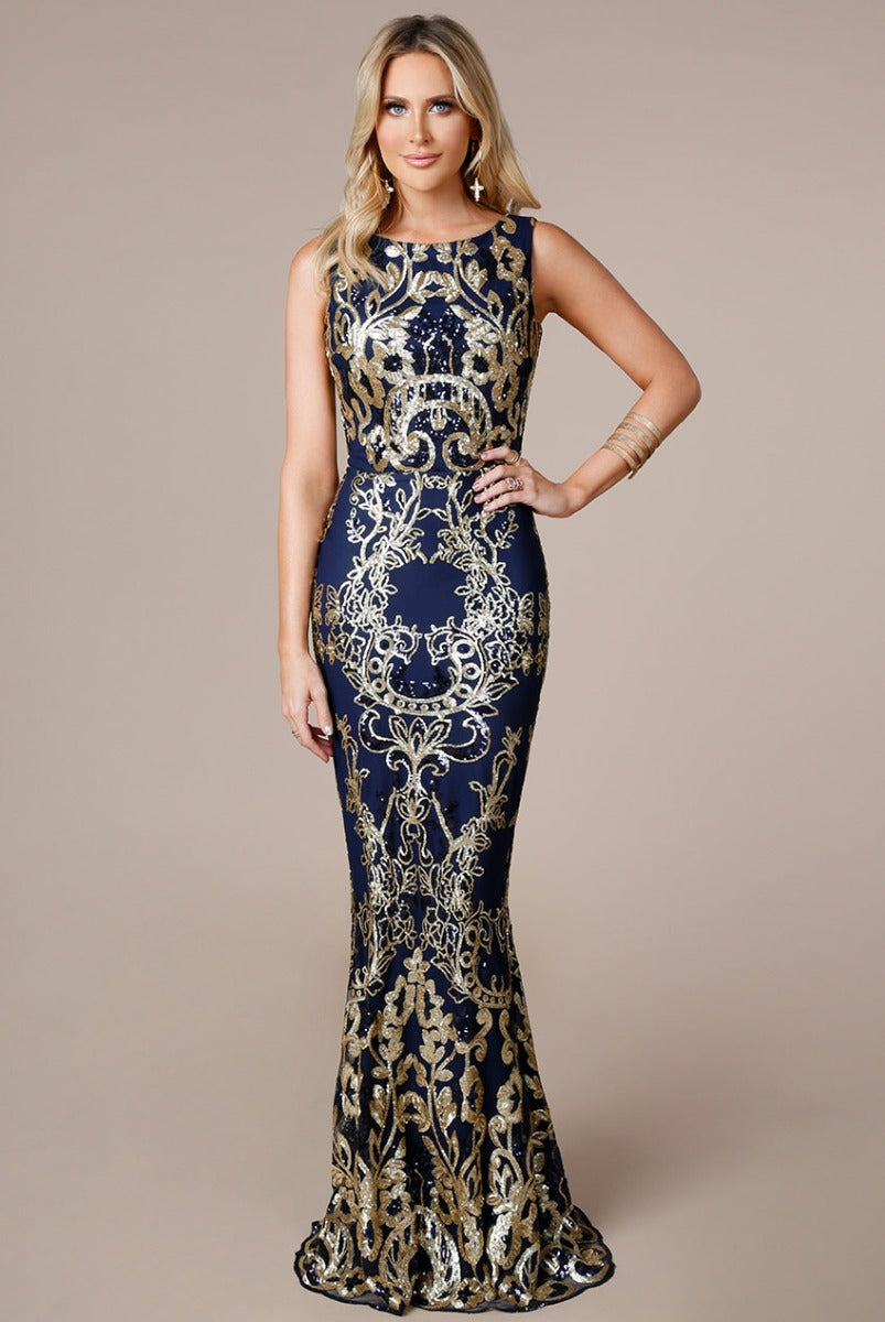 Stephanie Pratt - Sequin Maxi Dress with Scalloped Hem - Navy