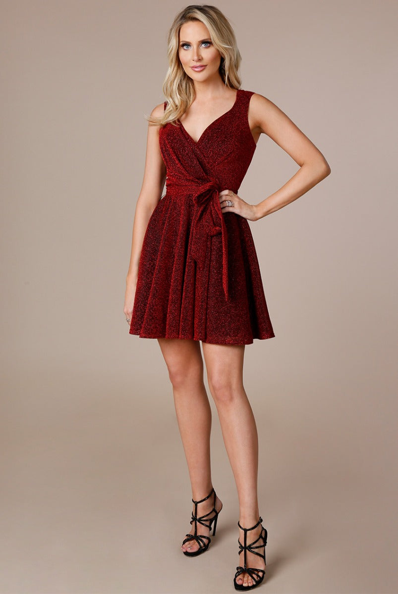 Stephanie Pratt Cross Over Sleeveless Mini Skater Dress - Red