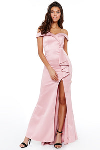 Nude Satin Bardot Bow Detail Maxi Dress