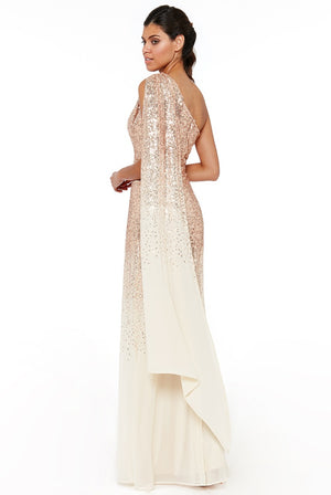 One Shoulder Sequin & Chiffon Maxi Dress - Champagne