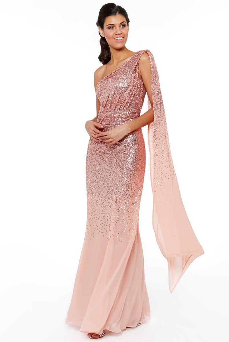 One Shoulder Sequin & Chiffon Maxi Dress - Peach