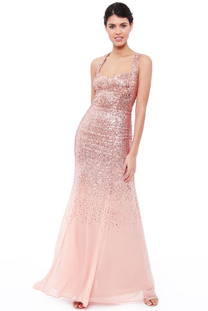Criss Cross Back Sequin Maxi Dress - Peach